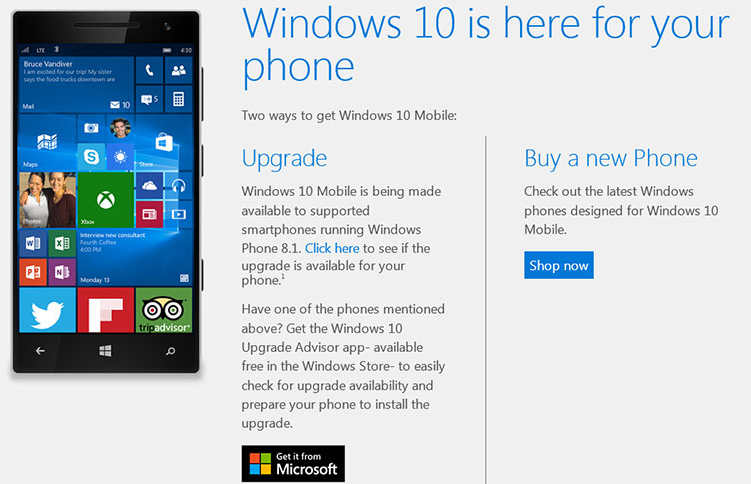 Windows 10 Mobile Update for Windows Phone 8 1 Users