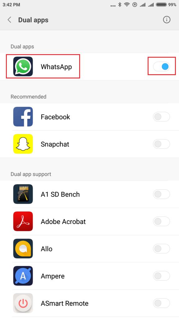 Run Two Facebook or WhatsApp